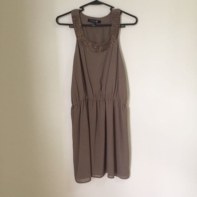 F21 Taupe Dress With Beads