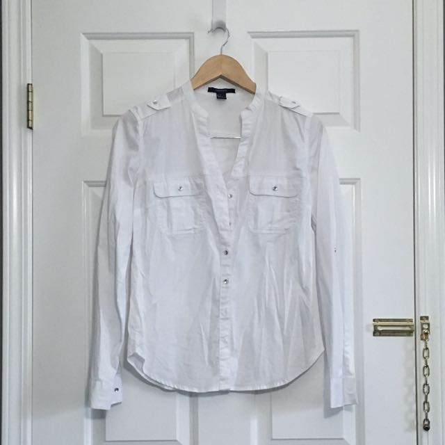 Forever21 Collarless Shirt With Shoulder Details
