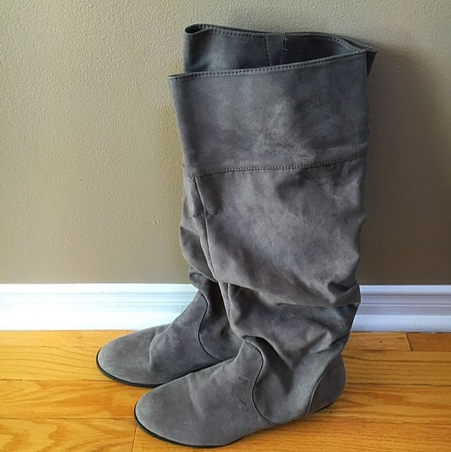 Grey Faux Suede Boots.  Size 9.