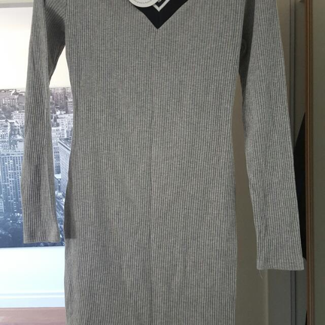 Grey Knit Dress Brand New With Tags Size M