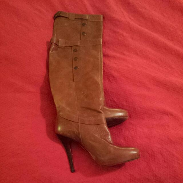 Knee High Leather Tan Boots Sz 8 Made In Brazil