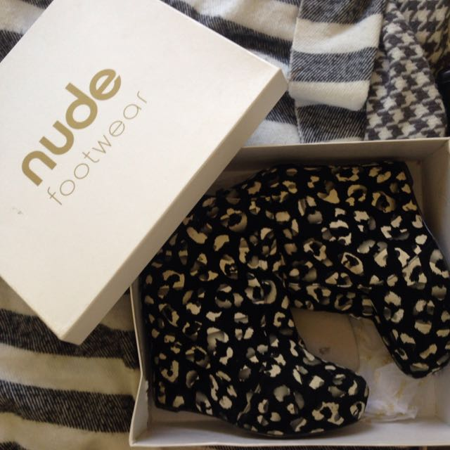 Leopard Print Wedges Ankle Boot