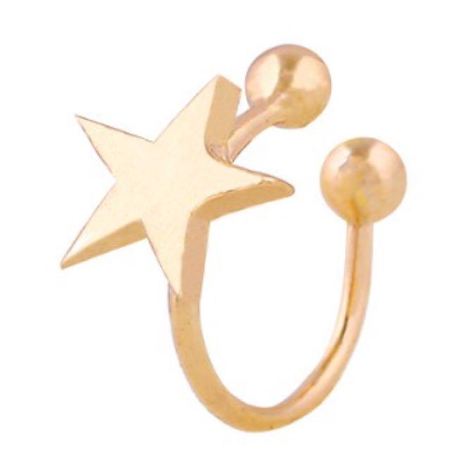 Lovely Silver Gold Ear Cuff Clip On Earring Heart Star Mini Earring
