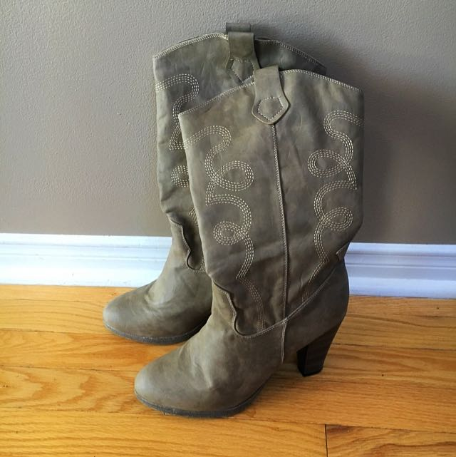 Mid Calf Beige/Taupe Mid Calf Boots by Charo Fernandez.  Size 9.