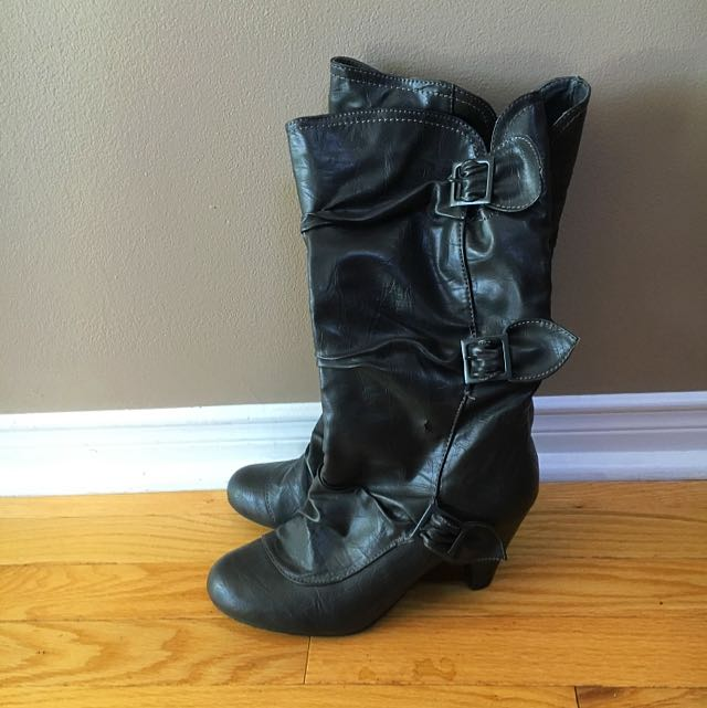 Mid Calf Grey Boots by Le Chateau.  Size 9.