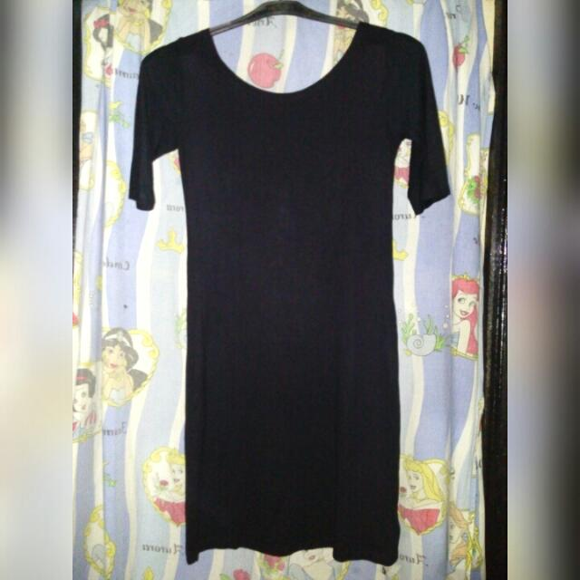 Mini Dress Warna Hitam Polos