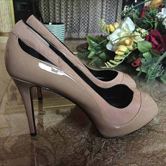Beige Charles & Keith Open-toed Pumps