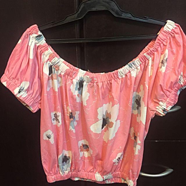 Off Shoulder Hot pink Blouse