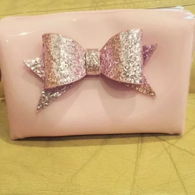Pink Glitter Bow Cosmetic Bag