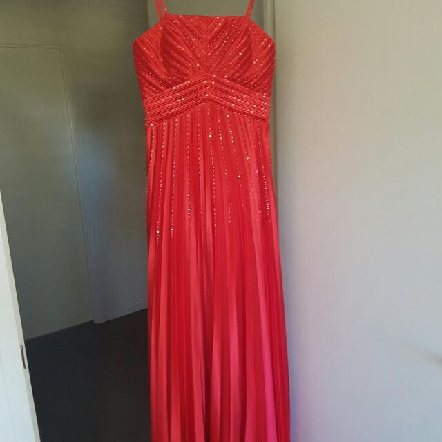 Red Beaded Formal Dress