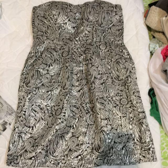 Strapless Silver Dress