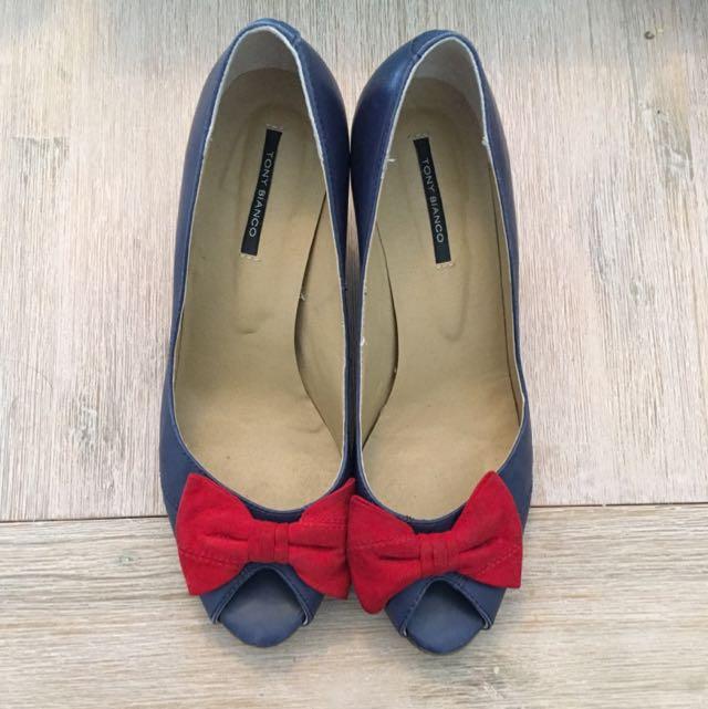 Tony Bianco Peep Toe Bow Shoes Size 7.5