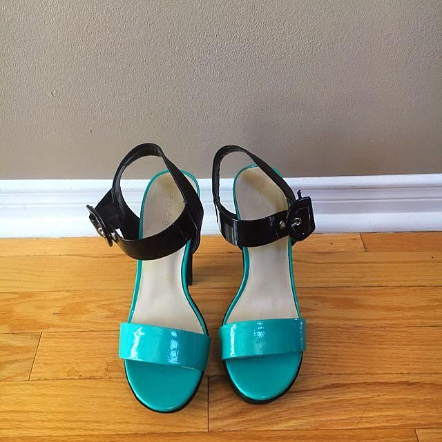 Turquoise & Black Platform Heels by Le Chateau. Size 9.
