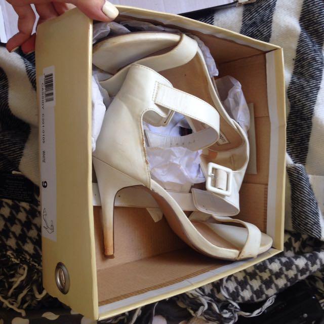 White Isabella Brown Strap Heels