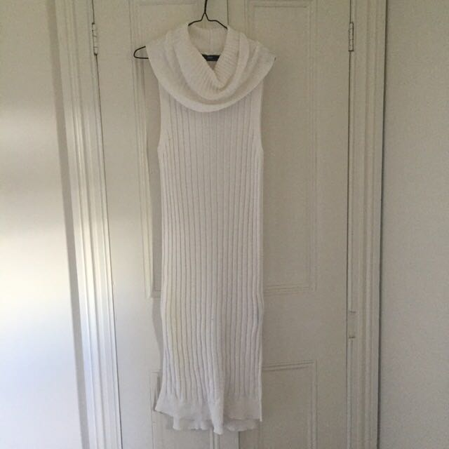 White Ribbed Knit Dress