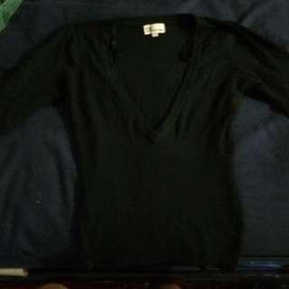 Casa Blanca Black Long Sleeve V-Neck
