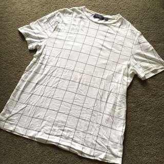 Topman White Grid Tshirt Size L