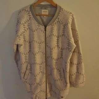 Numph Grey Floral Sweater Size Medium