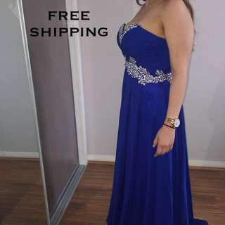 Long Strapless Formal Gown