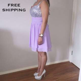 Lilac Formal Dress + Sparkly Platform Heels