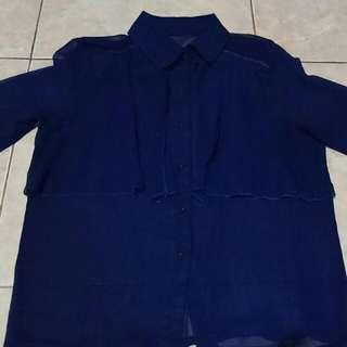 Dark Navy Chiffon Shirt