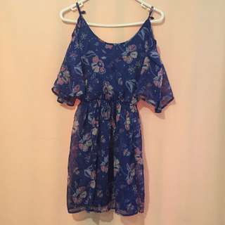 Hollister Cut-out Shoulder Blue Dress XS
