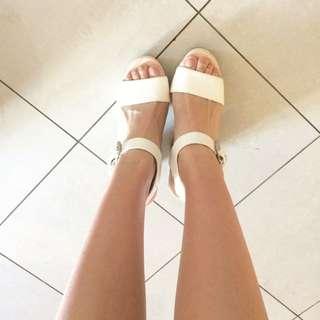 White Wooden Chunk Heels