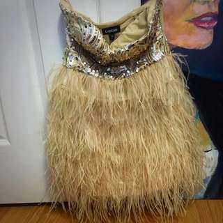 Bebe Nude feather Party Dress Size XS