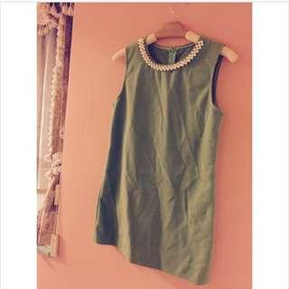 珍珠洋裝草綠色-韓