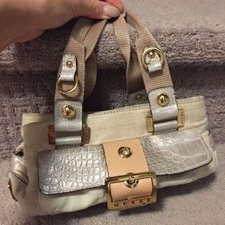Beige Guess Handheld Purse
