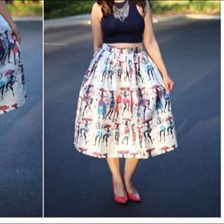 Shein Vintage Print Flare Skirt With Zipper