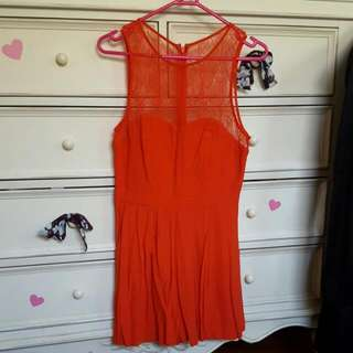 Forever New Red Lace Playsuit size 8 BNWOT