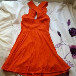 ASOS Red Skater Dress with Keyhole Cut Out and Bow on Back size 8 BNWT