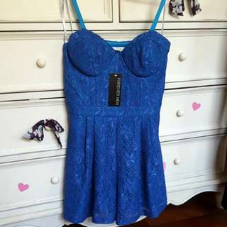 Forever New Blue Lace Playsuit size 10 BNWT