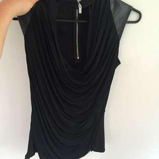 Karen Millen Zip-up Leather Look Tee