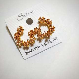 正韓 華麗小花造型耳環