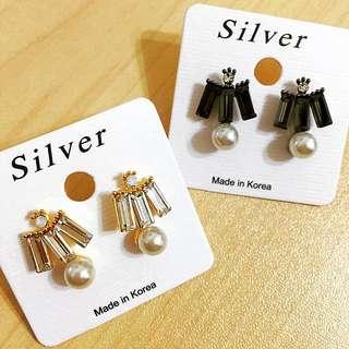 正韓 個性造型方鑽珍珠耳環