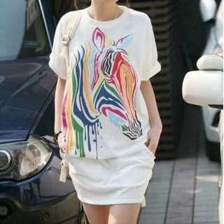 Zebra Printed Casual Dress