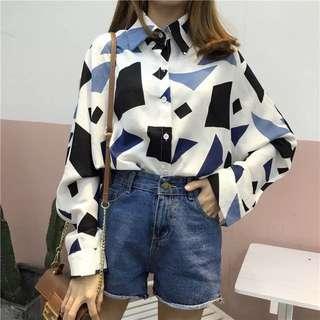 幾何圖撞色襯衫