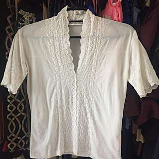 White Chinese Blouse