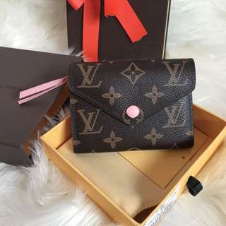 Louis Vuitton Replica Wallet Purse Compact Zippy Fold M41938 Rose Ballerina LV Monogram Brown Light Baby Pink Victorine