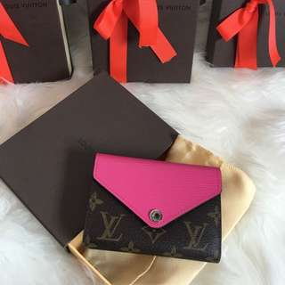Louis Vuitton Replica M60495 Purse Wallet Rose Red Hot Pink Fuchsia Wallet Marie Lou Compact LV Brown Monogram Designer