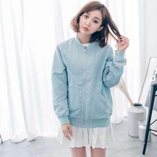 粉藍 飛行外套
