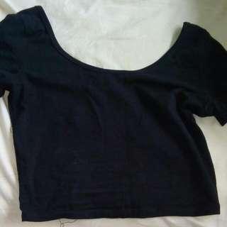 Size 10 Off The Shoulder Black T Shirt Crop