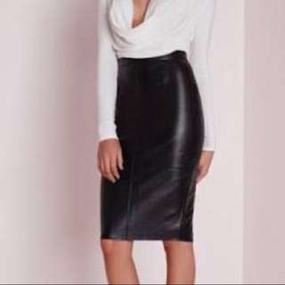 [PENDING] Misguided Black Faux Leather Pencil Skirt