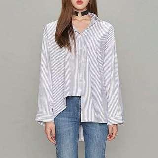 (韓國代購)AIN翻領條紋不對稱襯衫