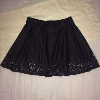 Black Leather Cut Out Skirt