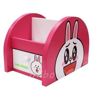 【Mibo百貨】正版 LINE 置物收納盒 筆筒 木製抽屜盒 兔兔 桌上收納盒 置物盒