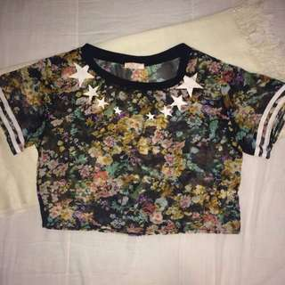 Sheer Floral Cropped Top