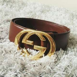 Authentic gucci GG Brown Leather Belt